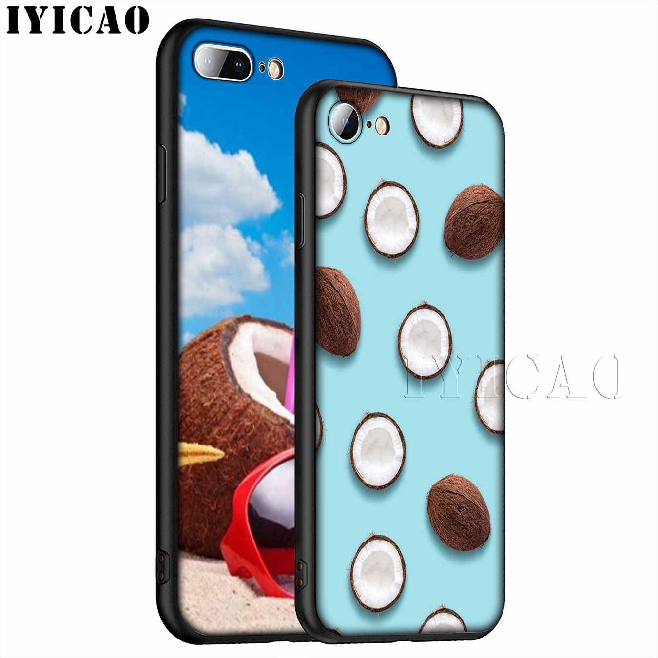 Frutas de coco no céu azul praia areia macio silicone caso do telefone para o iphone xr x xs 11 pro max 6 s 7 8 plus 5 5S se 10 capa