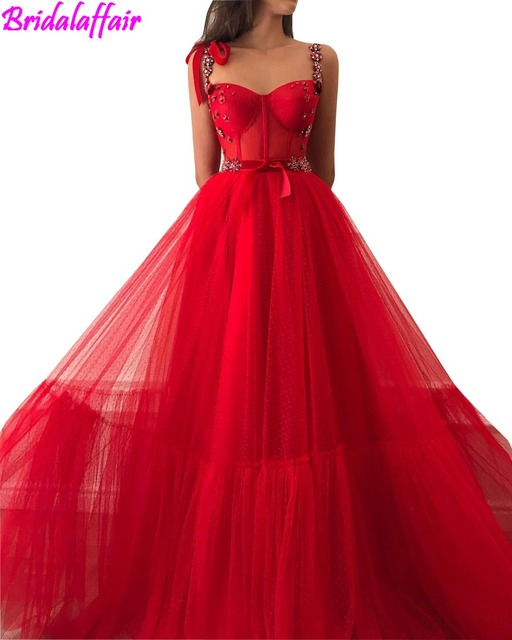 61c7b6efdc0c1 Princess Red Crystals Cheap Long Prom Dresses 2019 A Line Plus Size Tulle  Cheap Velvet Arabic