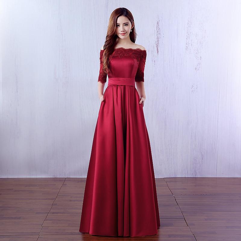 Beauté Emily élégant vin rouge longues robes De soirée 2019 dentelle poche Satin sur mesure femmes fête robes De bal Robe De soirée - 3