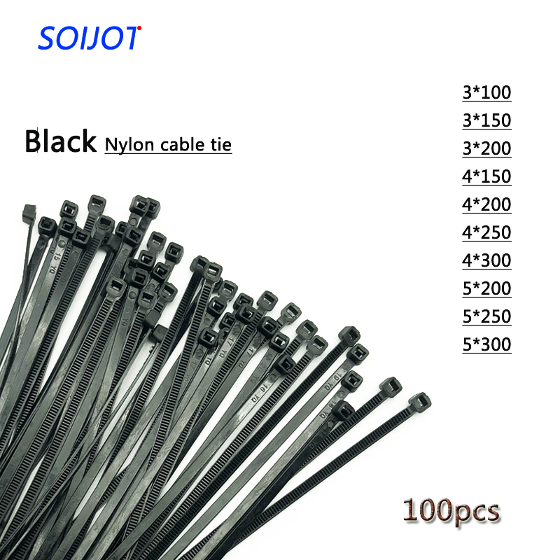 Black Zip Ties >> Us 1 06 Self Locking Plastic Nylon Wire Cable Zip Ties 100pcs Black Cable Ties Fasten Loop Cable Various Specifications In Cable Ties From Home
