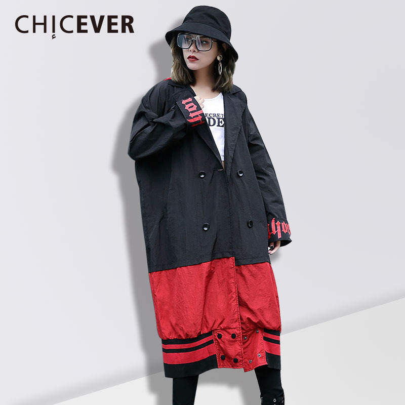 CHICEVER Spring Hooded Trench Coat For Women Windbreaker Long Sleeve Loose Big Size Overcoat Hit Colors Female Coats Clothes New