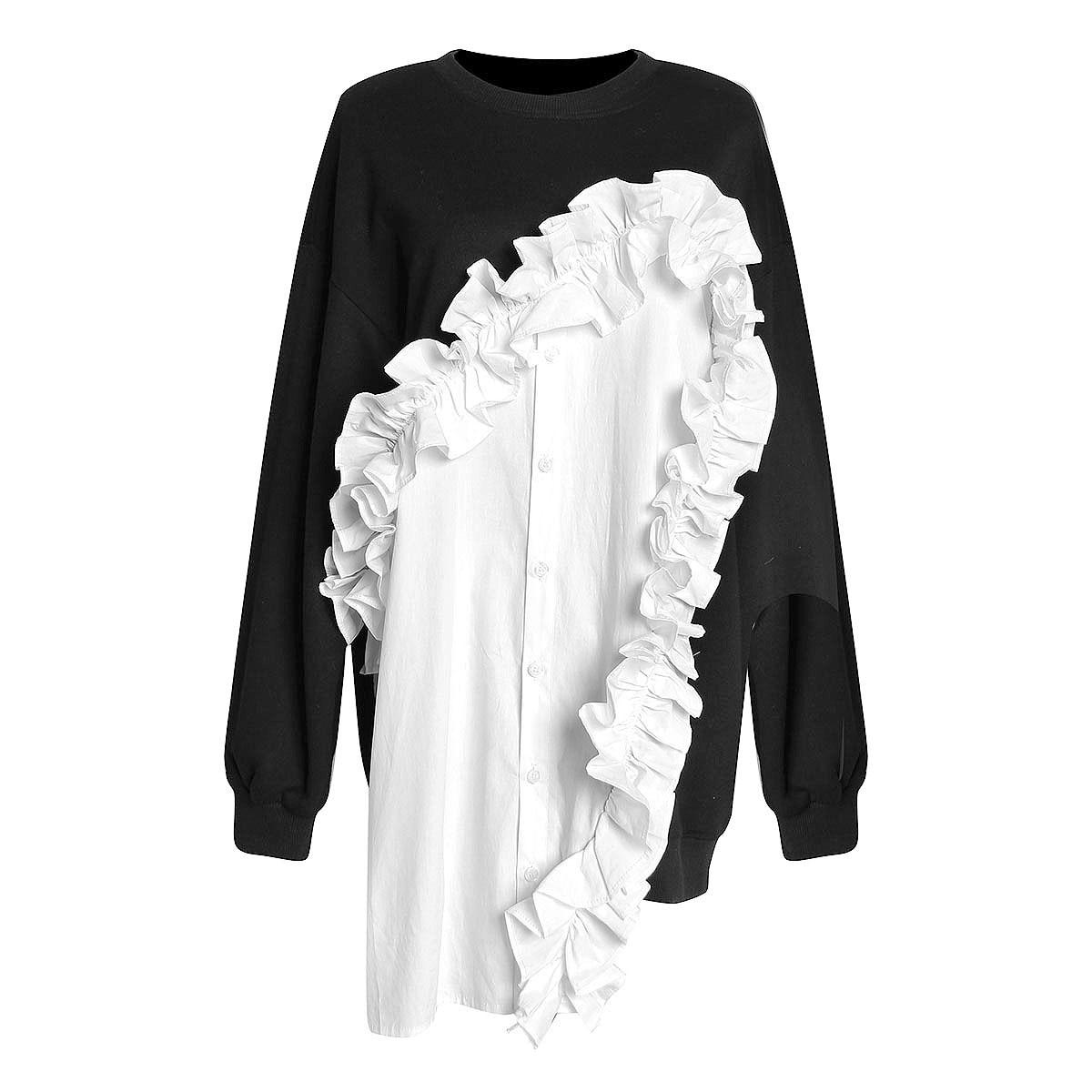 2019 Patchwork À Volants Pour Les Femmes Sweat Manche Longue Frappé Couleurs hauts pullover Femme Printemps été pulls à capuche de mode