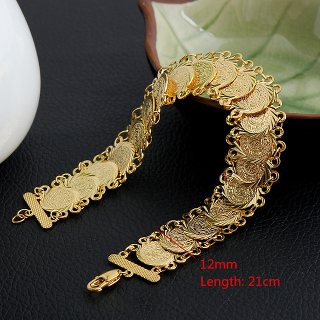 Money Coin Bracelet Gold Color Islamic Muslim Arab Coins Bracelet for Women Men Arab Country Middle Eastern Jewelry