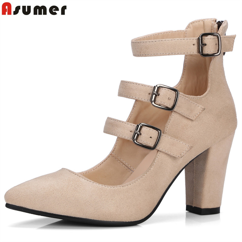 Asumer 2018 New high quality flock women pumps pointed toe high heels 8cm office lady dress shoes woman black /wine red comfy women pointed toe square high heels office shoes woman flock ladies pumps plus size 34 40 black grey high quality
