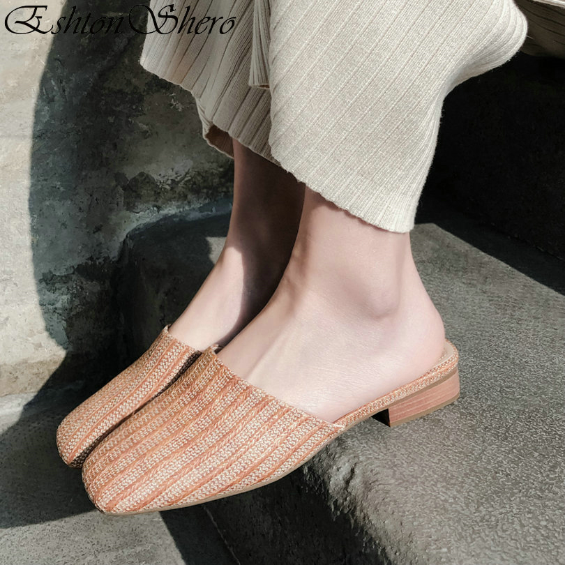Cuir Dames Femme Bas De 3 D'été À Pour Eshtonshero Chaussures Bout Talons Taille Blanc Sur Marron Babouches blanc Slip 9 Slingback Mariage Tricoter En Rond pawCnYw