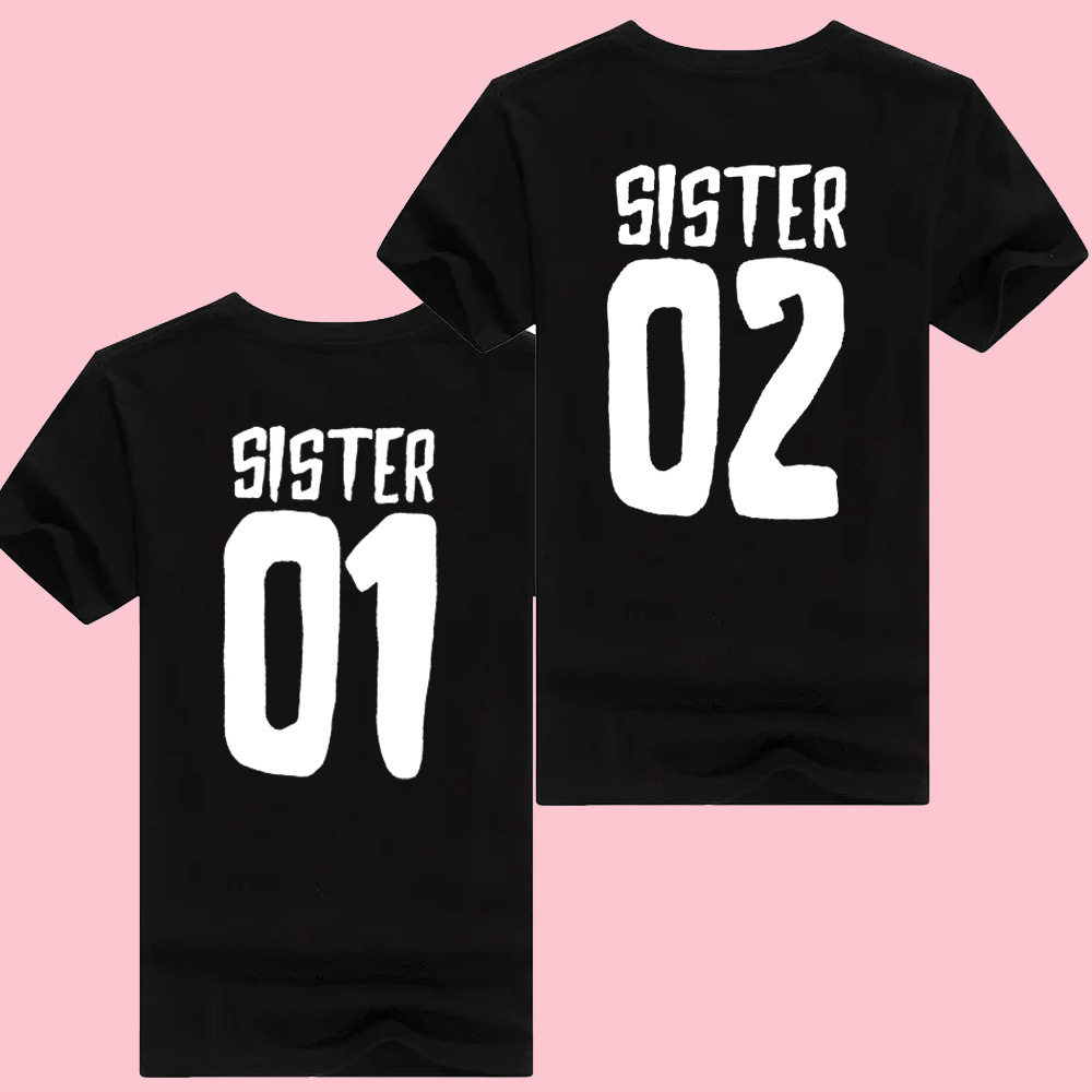 Women White T-shirt Ladies Summer Cotton Tops Sister 01 Sister 02 Letter Tshirt Female Comfy Short Sleeve T Shirt Breathable Tee