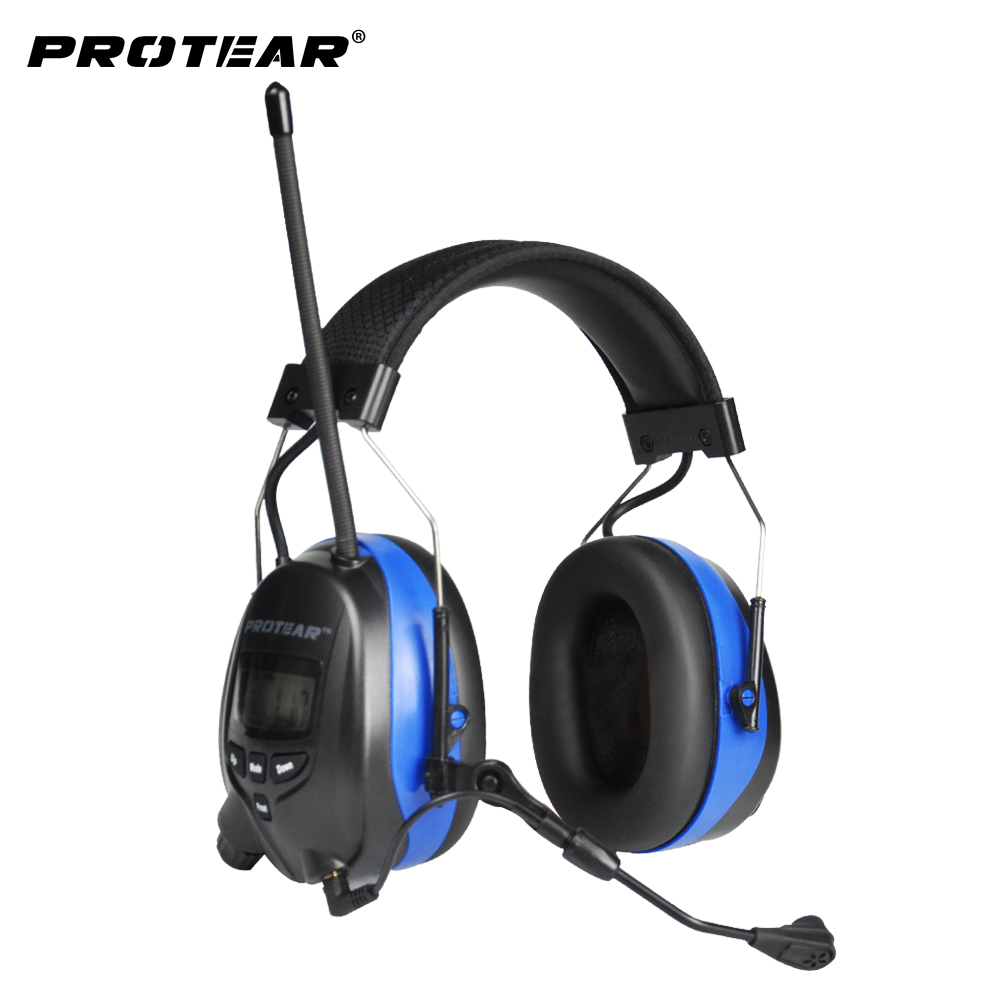 Protear NRR 25dB Bluetooth 4.3 Hearing Protector with Microphone  Ear Defender Ear Protection with AM/FM Tuner