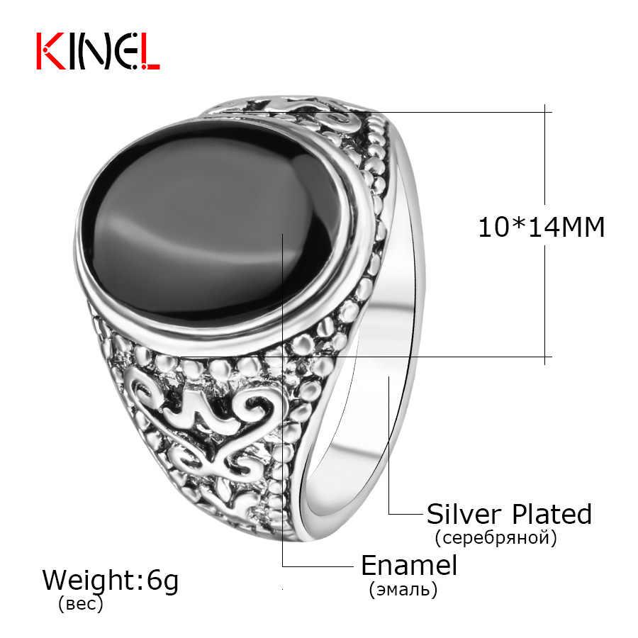 สีดำศุกร์เครื่องประดับขายบนราคาถูกสีเงินแหวนวินเทจดูเคลือบพังก์ร็อคแหวนสำหรับผู้ชาย
