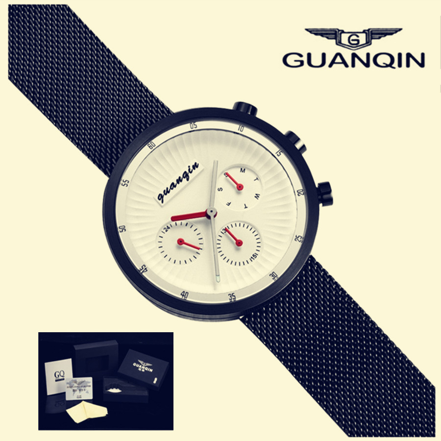 GUANQIN Watch Men waterproof Mesh Strap relogio masculino Business Fashion Clock Man Stainless Steel Analog Quartz Wrist Watches nibosi men watch full stainless steel mesh strap business watches men s quartz date clock men wrist watch relogio masculino