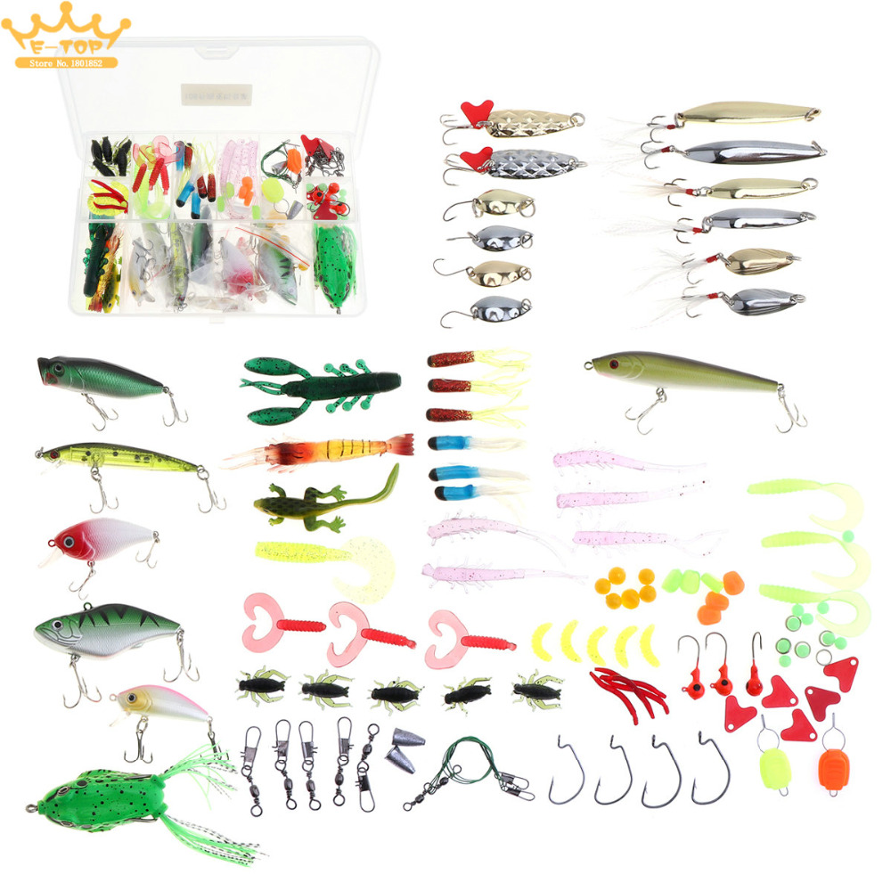 106pcs Mixed Multi Fishing Lure Kit Hard Soft Baits with Artificias Minnow Crank Popper VIB Sequins Wobbler Frog and Box sakura q5949x q7553x