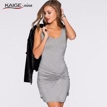 Горячие продажи KaigeNina Новая мода женщины талии одежда воротник платья Трикотажные чистые цвета платья без рукавов 9089