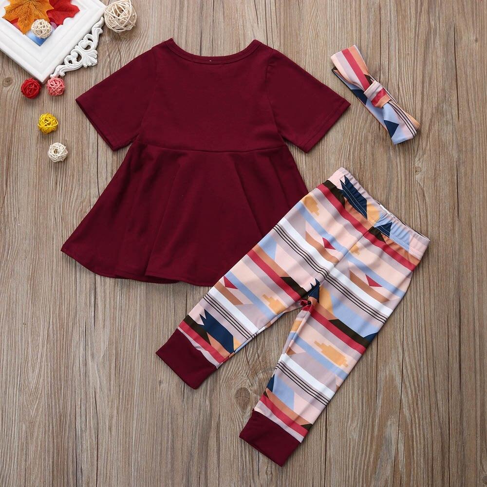 MUQGEW Одежда для больших девочек детская одежда Дети Весеннее платье для маленьких девочек, штаны и повязка на голову комплект одежды из 3-х предметов, комплекты בגדים
