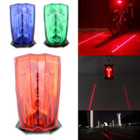 1PC 2 Laser Flashing Lamp Light Bike Rear Tail Safety Warning Light With 5 LED For