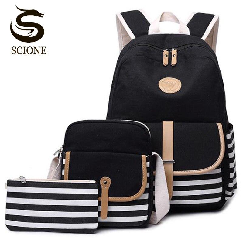 Hot Stylish 3 Set Canvas Printing Backpacks Women Cute Lightweight Bookbags Middle High School Bags for Teenage Girls School Bags     -