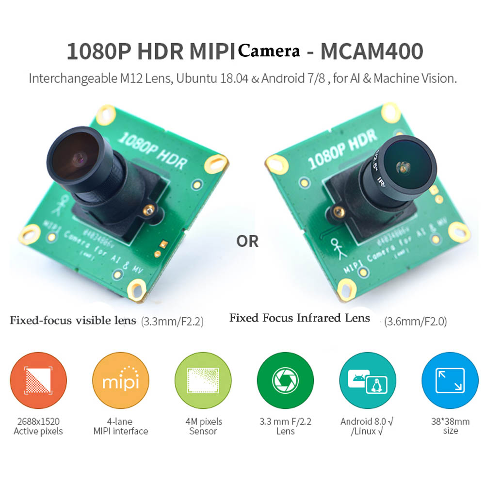 1080P HDR MIPI Camera - MCAM400 Support NanoPC-T4 NanoPi-M4/NEO4 IR Filter/o IR Filter