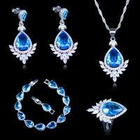 Сюрприз подарок для Для женщин Свадебные/День рождения/партия небесно-голубой камень белый кристалл 925 марка серебро Цвет Браслеты Ювелирн...