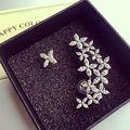 Fashion Big Mismatched Flower Ear Cuff Earrings Star CZ diamond Stud Earrings APM Monaco White Gold plated Women Party Jewelry