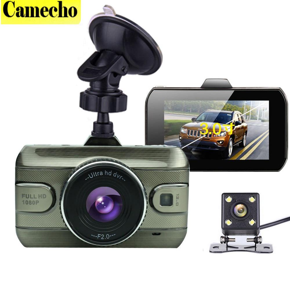 Prix pour 2017 Nouveau Double Lentille Voiture DVR Cam Dashcam 1080 P Full HD Vidéo Registrator Enregistreur De Recul De Sauvegarde Caméra G-capteur de Vision Nocturne
