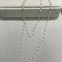 3 4MM long fresh water pearl necklace 10K yellow gold small pearl necklace genuine jewelry fine women jewelry free shipping