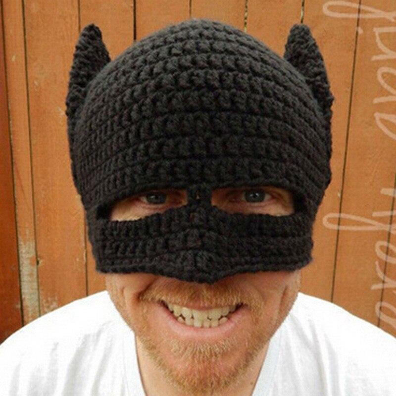 New Funny Handmade Batman Mask Hats Knitted Beanie hat Man Women Winter Caps Black gorras hombre Creative Cap Party Gift 2018
