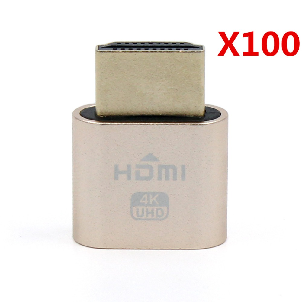 100 Pcs VGA Virtual Display Adapter HDMI 1.4 DDC EDID Dummy Plug Headless Ghost Display Emulator Video card Lock plate