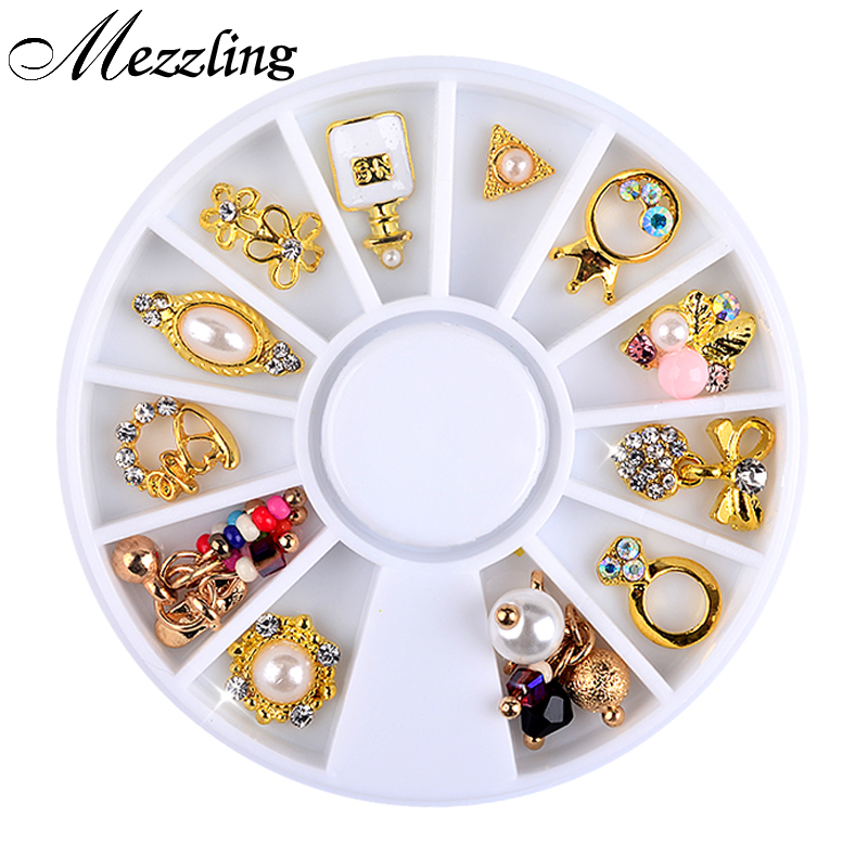 New 3d Charm Alloy Nail Art Rhinestone Decoration Wheel