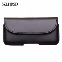 SZLHRSD Men Belt Clip Genuine Leather Pouch Waist Bag Phone Cover For HomTom HT70 Cases Black