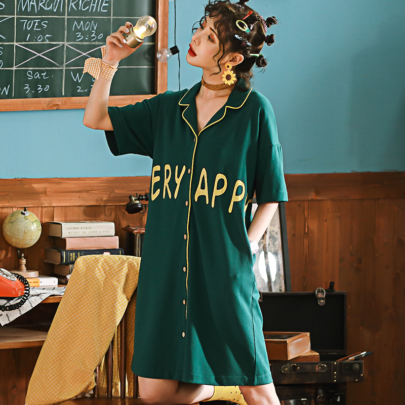 Summer Short Cotton Turn-down Collar Women's   Nightgowns   Sleepwear Nightwear Size 2XL Sleep&Lounge Nightdress   Sleepshirts   Dress