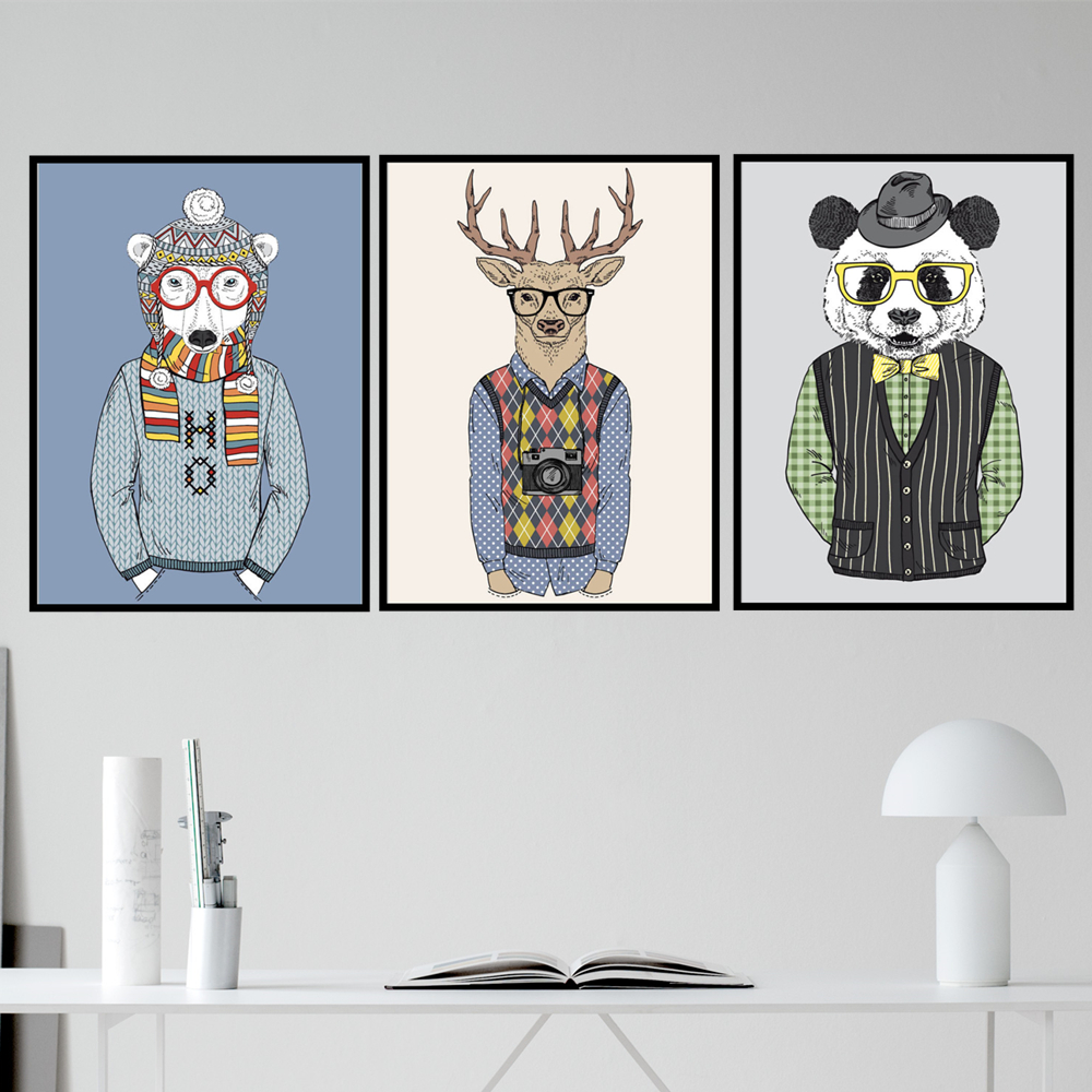 AZQSD Fashion Animals A4 Vintage Large Art Prints Poster Hippie Wall Picture Canvas Painting No Framed Office Home Decor PP051