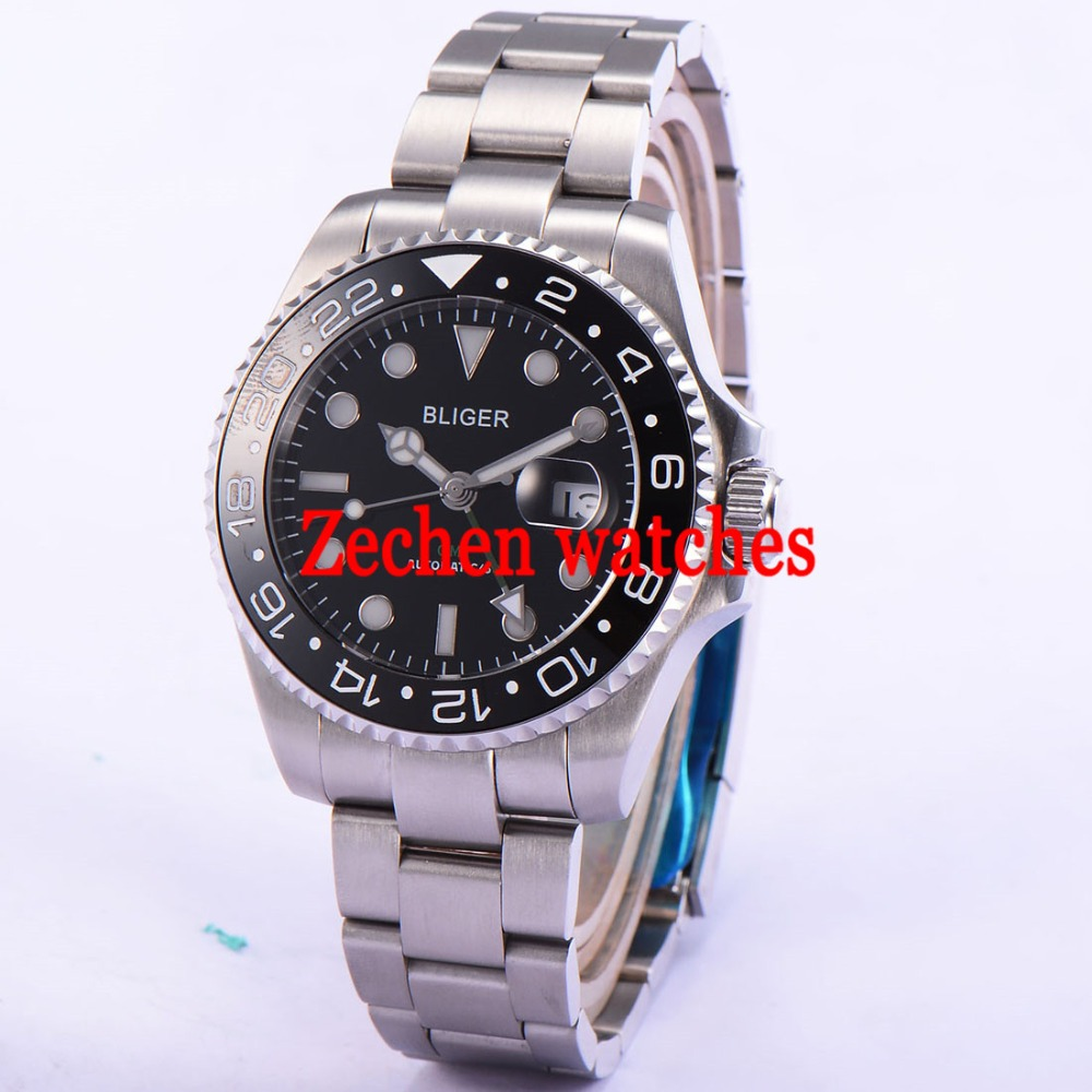43mm Bliger Date Day Sapphire GMT Automatic black dial Mechanical Luminous Mens Watch цена и фото