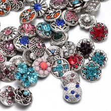 50pcs/lot Mixed snap button charm High quality Rhinestone 12mm Metal Snap Button For Interchangeable DIY Snaps Jewelry 5