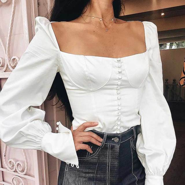 Vintage INSPIRED sexy slim white lantern sleeve tute top cotton button front square neck chic blouse shirt women 2018 blusas