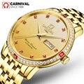 Роскошные ультратонкие часы для карнавала мужские сапфировые автоматические часы из нержавеющей стали водонепроницаемые золотые часы ...
