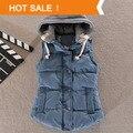 Alta calidad 2014 nueva moda de invierno de corea del algodón ocasional chaleco chaleco caliente Color sólido chaqueta de punto con capucha escudo mujer delgada