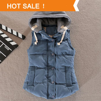 High Quality 2014 New Winter Fashion Korean Casual Cotton Vest Warm Vest Solid Color Hooded Cardigan Female Coat Slim
