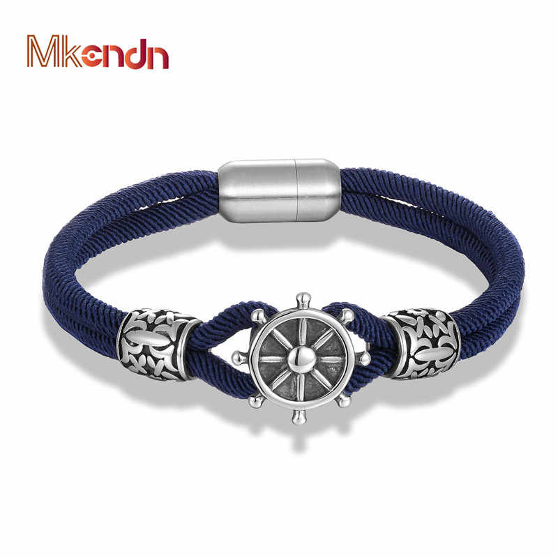 MKENDN Fashion Anchor Bracelets Men Women Charm Nautical Milan rope Rope Chain Paracord Bracelet Male Wrap Metal Magnet Buckle
