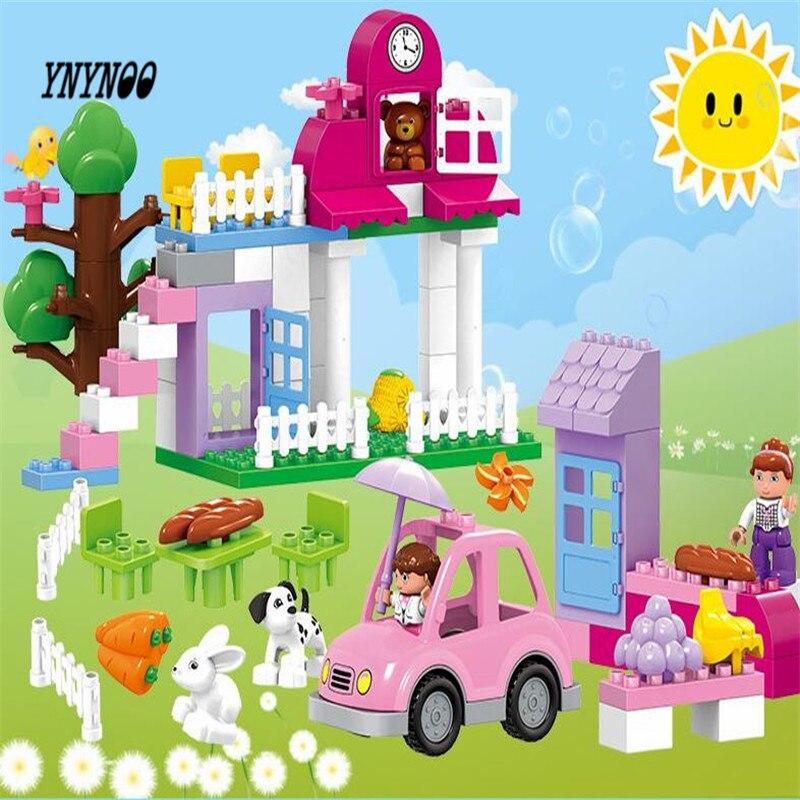 YNYNOO 95pcs/lot Happy Farm Animals Building Blocks Sets Large particles Animal Model Bricks  Duploe baseplate P482