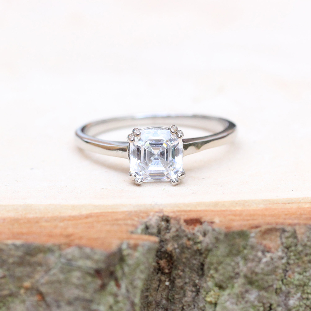 Solitaire 3 Carat Asscher Moissanite Ring Test Positive Brilliant Cut Lab Grown Diamond Solid 14K White Gold Engagement Rings цены