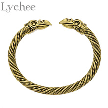 Lychee Vintage Viking Bracelet Bangle Silver Gold Color Crow Cuff Bangle Jewelry for Men Women
