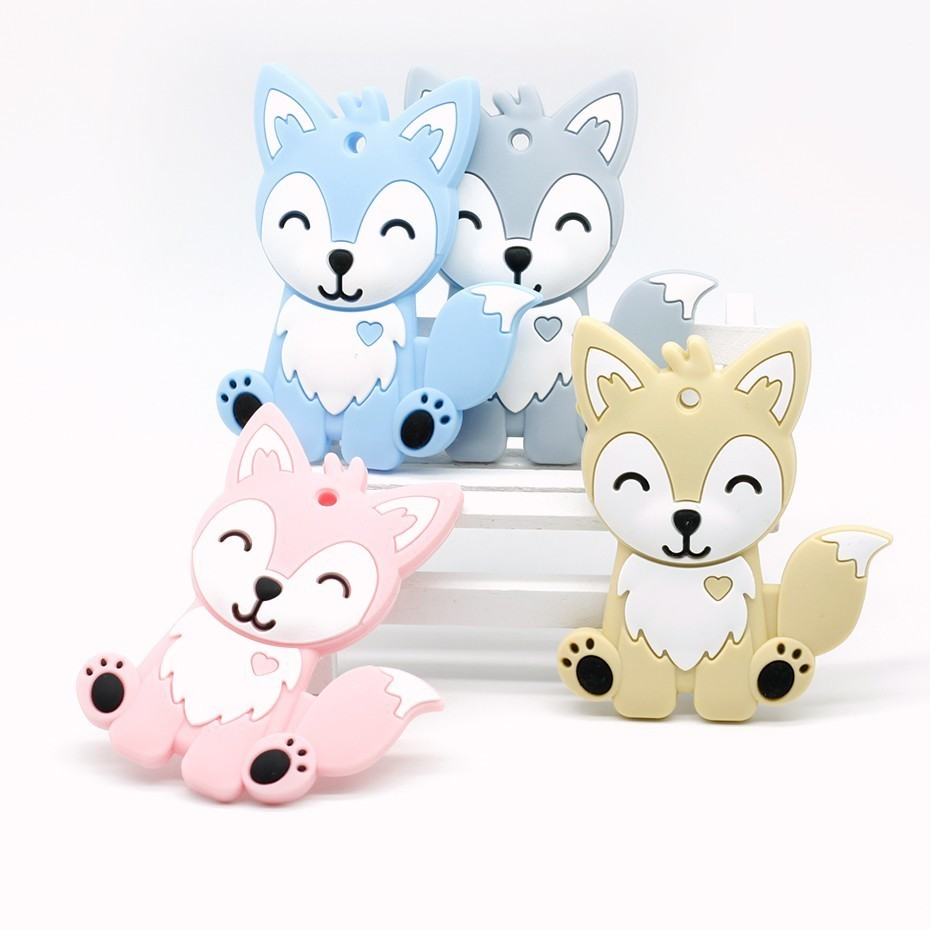 4 Colors Silicone Teethers Animal Baby Ring Teether Silicone Chew Charms