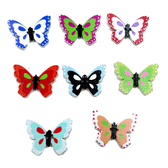 100pcs wooden buttons butterfly shape mixed color 2 holes sewing scrapbook diy fashionabel trendy pattern style - Butterflies To Color 2