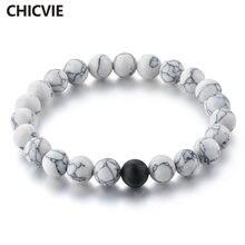 Женский браслет с натуральным камнем chicvie черный и белый