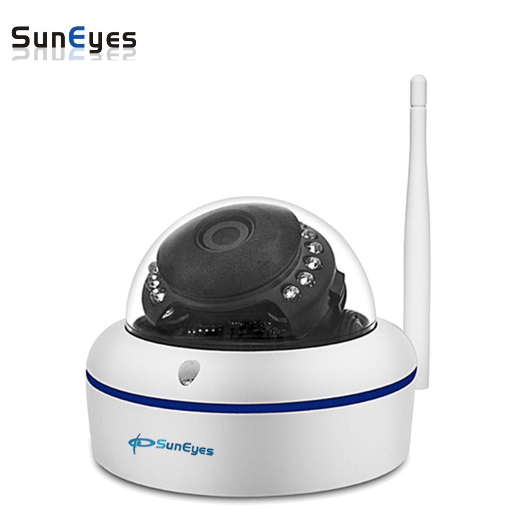 SunEyes  SP-V702W 720P HD Mini Dome IP Camera Outdoor Wireless Wifi Weatherproof ONVIF and RTSP with Free P2P Metal Alloy Case suneyes sp v701w 720p hd mini ip camera outdoor wireless waterproof onvif and rtsp support ir night vision free p2p