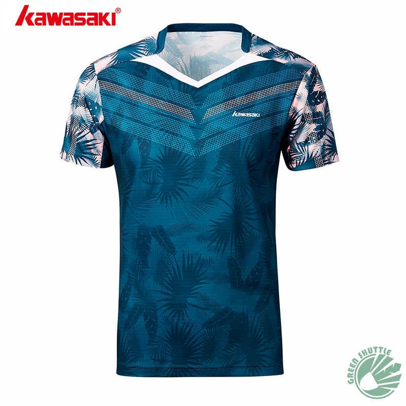 2019 genuino Kawasaki ST-S1106 ST-S1110 bádminton deportes camiseta los hombres y las mujeres con cuello en V de manga corta blusa ropa transpirable
