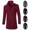 Mens Long Coat 2017 New Arrival Burgundy Men's Woolen Coat Single Breasted Mandarin Collar Casual Solid Terno Masculino for Men