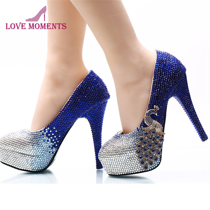 все цены на Fashion Wedding Party Shoes Thin Heel Royal Blue with Silver Crystal Bride Dress Shoes 14cm High Heel Pumps Bridesmaid Shoes