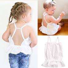 0-2 Yeasr Newborn Baby Girls Cotton Top T-shirt Summer Backless Top Blouse Baby Girls Tank Tee Infany Baby Girls Clothing