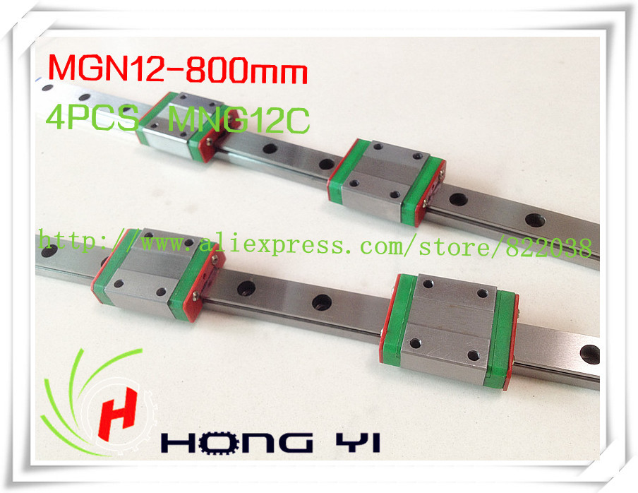 Square linear guide 2 X  MGN12 L=800mm with 4pcs MGN12C linear blocks(can be cut any length)Square linear guide 2 X  MGN12 L=800mm with 4pcs MGN12C linear blocks(can be cut any length)