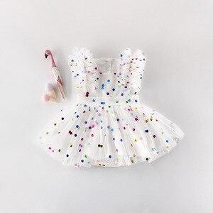 Image 2 - ฤดูร้อนเด็กสีชมพูBodysuitเสื้อผ้าเด็กHot Stampedหน้าจอเส้นด้ายผ้าฝ้ายสามเหลี่ยมHairdressเด็กBodysuits