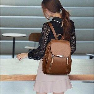 Image 4 - 2019 Women Leather Backpacks Female Shoulder Bag Sac A Dos Ladies Bagpack Vintage School Bags For Girls Travel Back Pack New